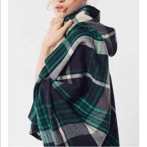 Urban Outfitters Plaid Pancho Green Hooded Sweater